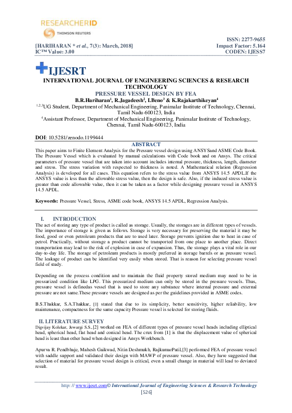 PDF) PRESSURE VESSEL DESIGN BY FEA | IJESRT Journal