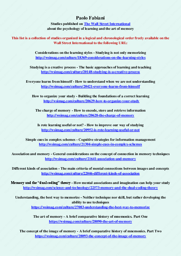 PDF) Articles published on The Wall Street International