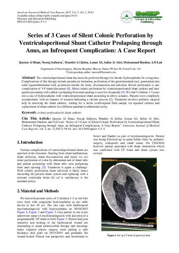 PDF) Series of 3 Cases of Silent Colonic Perforation by