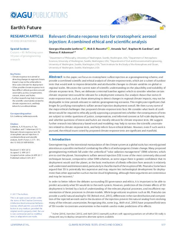 PDF) Relevant Climate Response Tests for Stratospheric Aerosol