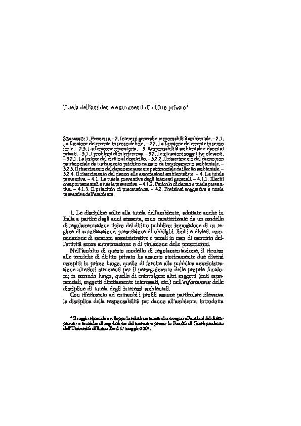 (PDF) Tutela dell'ambiente e strumenti di diritto privato