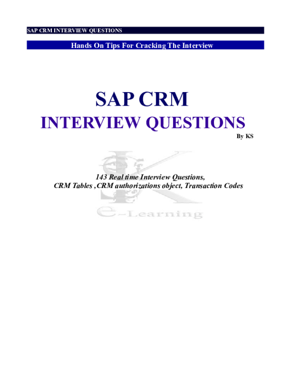 PDF) SAP CRM INTERVIEW QUESTIONS Hands On Tips For Cracking