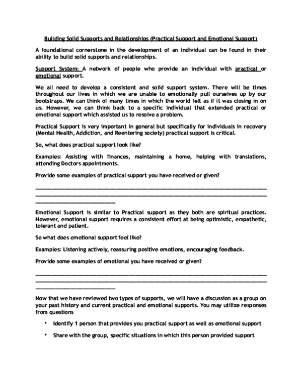 PDF) (Group work) Building Solid Supports and Relationships