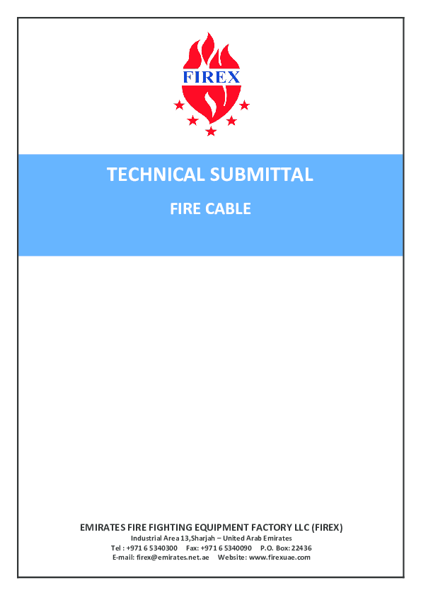 PDF) TECHNICAL SUBMITTAL FIRE CABLE EMIRATES FIRE FIGHTING EQUIPMENT