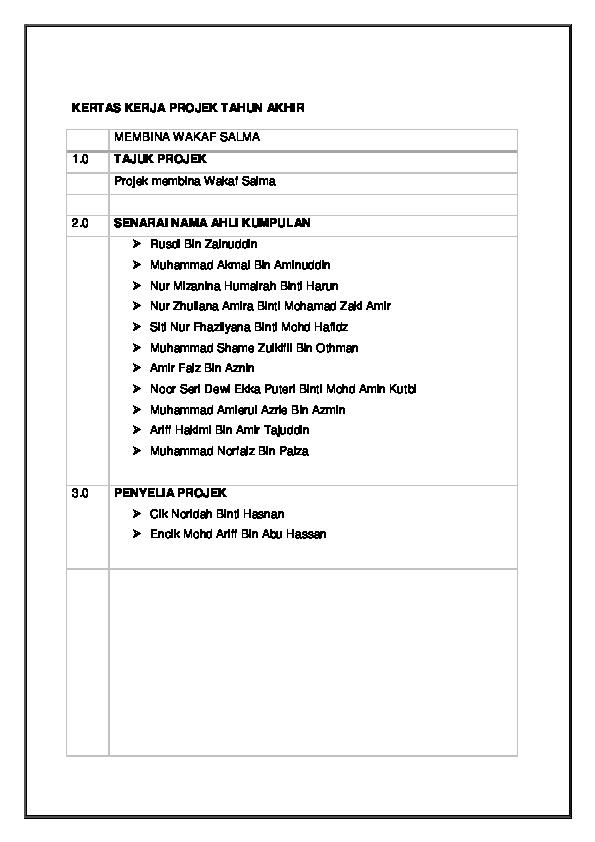 Kertas Cadangan Contoh Kertas Kerja Projek Pembinaan
