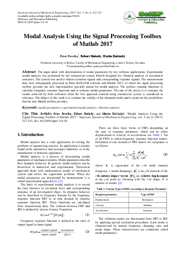 PDF) Modal Analysis Using the Signal Processing Toolbox of