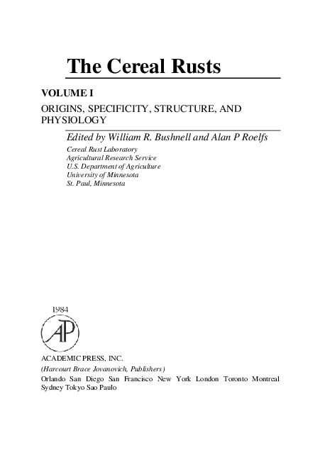 PDF) The Cereal Rusts VOLUME I ORIGINS, SPECIFICITY