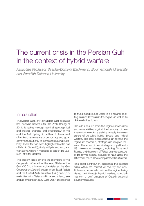 PDF) The current crisis in the Persian Gulf in the context