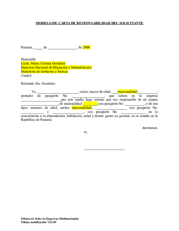 Doc Modelo De Carta De Responsabilidad Del Solicitante