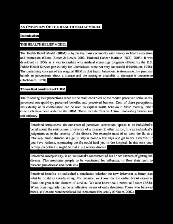 Doc An Overview Of The Health Belief Model Ogundele Gbolagade Academia Edu