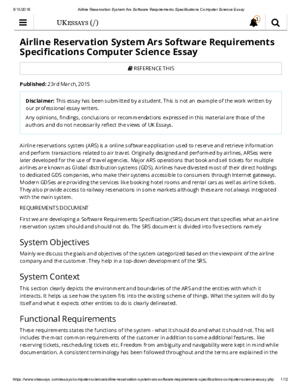 pdf airline reservation system ars software requirements  pdf