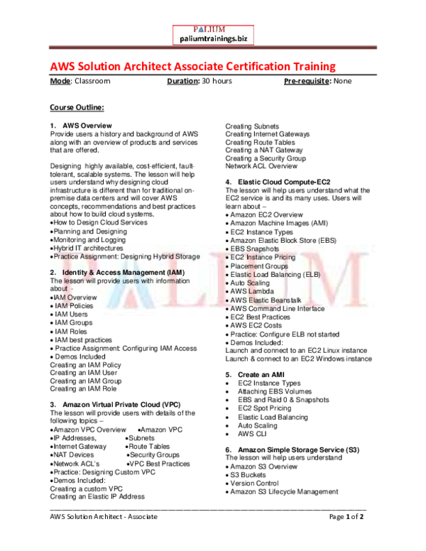 PDF) AWS Solution Architect Associate - classroom and online