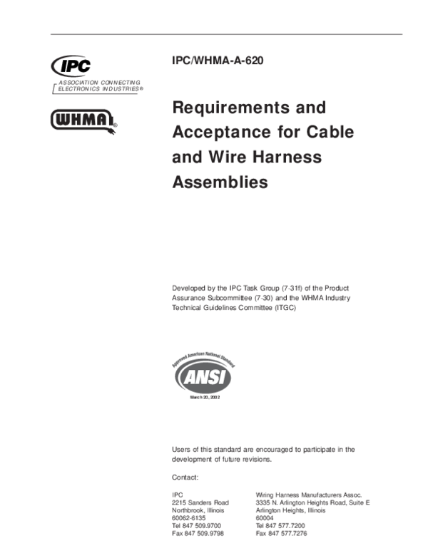 PDF) Requirements and Acceptance for Cable and Wire Harness