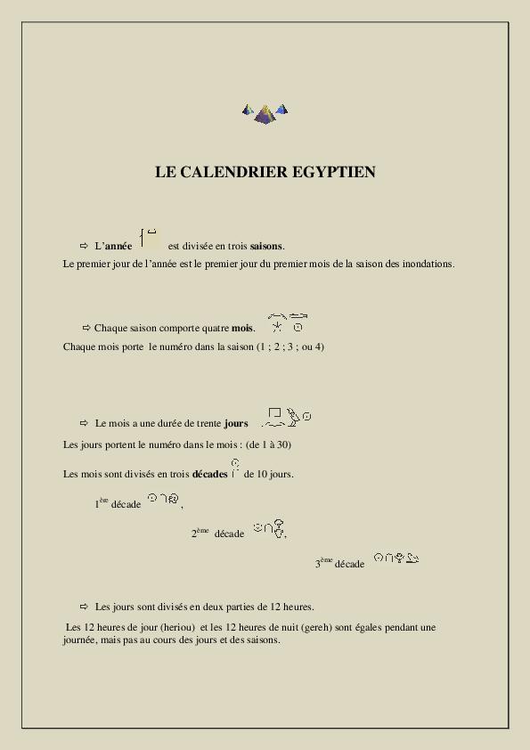 Calendrier Egyptien.Pdf Le Calendrier Egyptien Adjoua Kouame Academia Edu