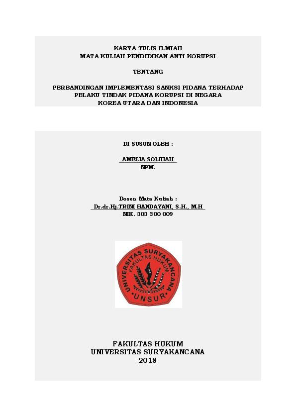 Doc Karya Tulis Ilmiah Mata Kuliah Pendidikan Anti Korupsi Tentang Perbandingan Implementasi Sanksi Pidana Terhadap Pelaku Tindak Pidana Korupsi Di Negara Korea Utara Dan Indonesia Amelia Solihah Academia Edu