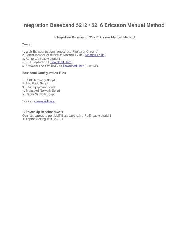 DOC) Integration Baseband 5212 / 5216 Ericsson Manual Method