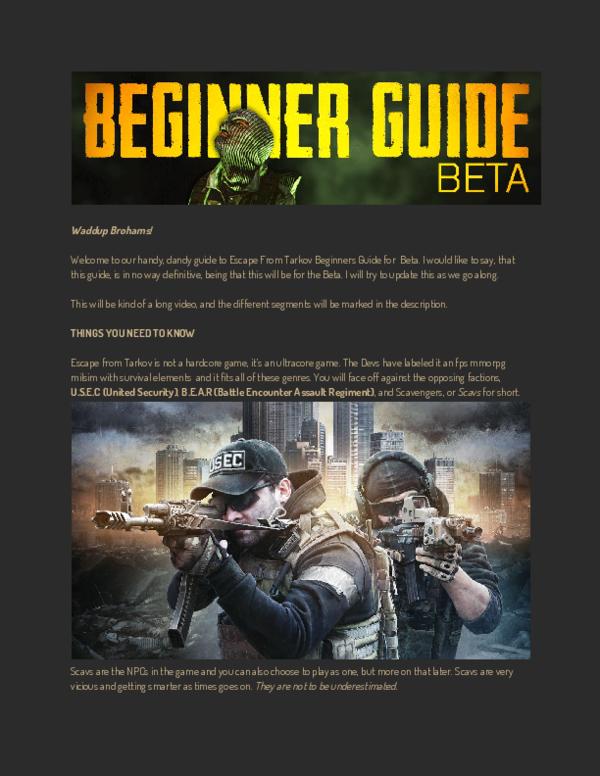 PDF) Escape From Tarkov Beginners Guide for Beta | Maurizio