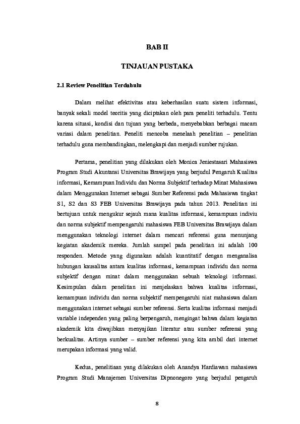 Pdf Bab Ii Tinjauan Pustaka 2 1 Review Penelitian Terdahulu Ridwan Ubruth Academia Edu