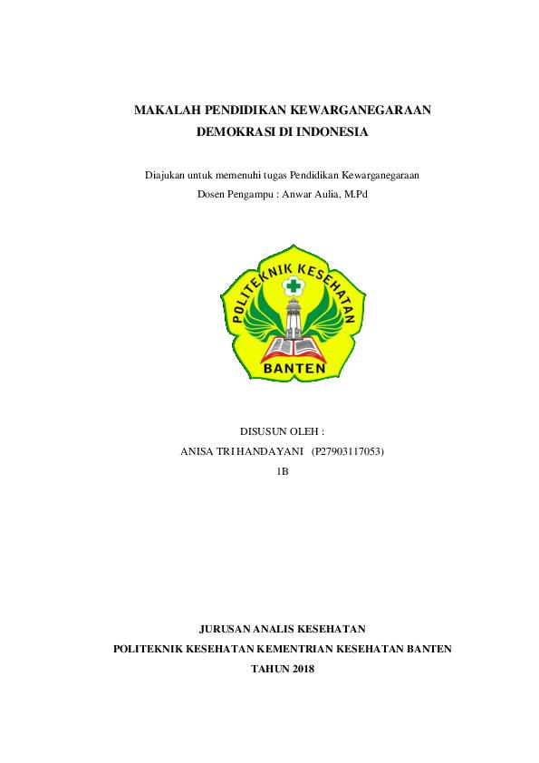 Pdf Makalah Pendidikan Kewarganegaraan Demokrasi Di Indonesia Anisa Tri Handayani Academia Edu