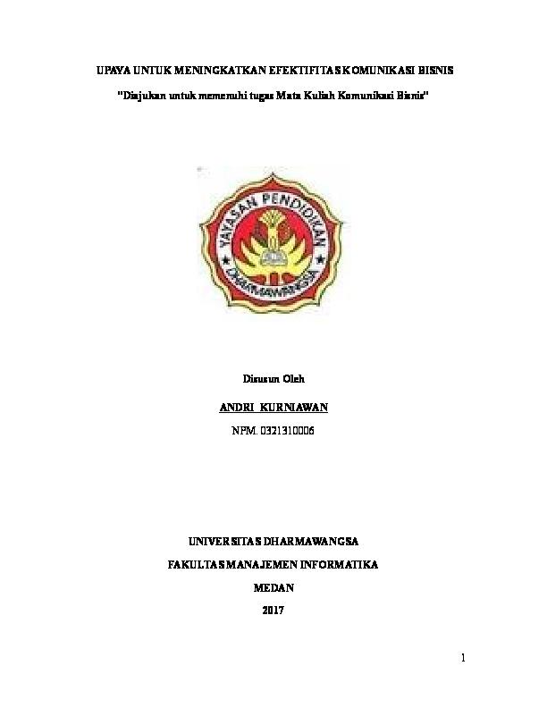 Doc Makalah Komunikasi Bisnis Doc Bayu Sugara Academia Edu