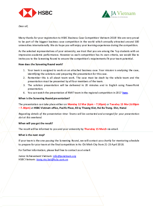 PDF)  HSBC Screening Round Letter to students Hanoi | Mai Anh Tú and