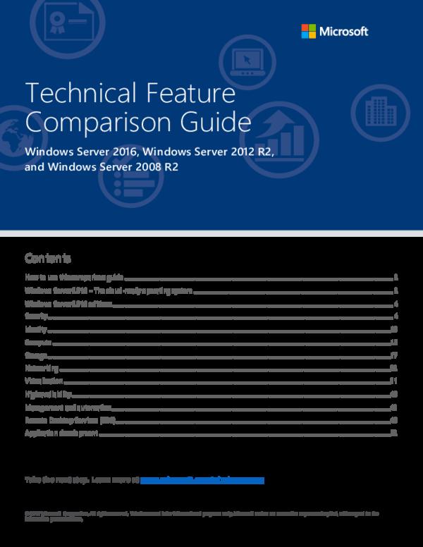 PDF) WIndows Server 2016 Technical Feature Comparison Guide