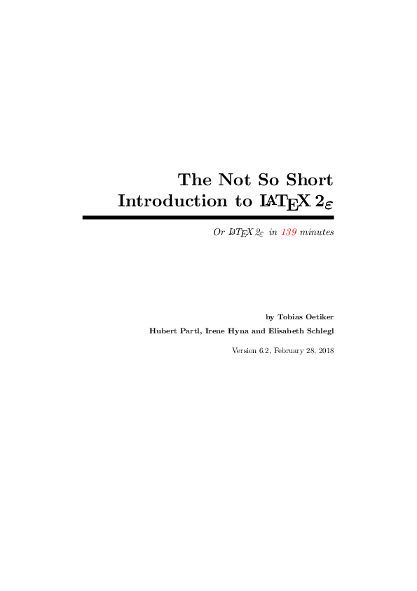 PDF) The Not So Short Introduction to L A T E X 2 ε Or