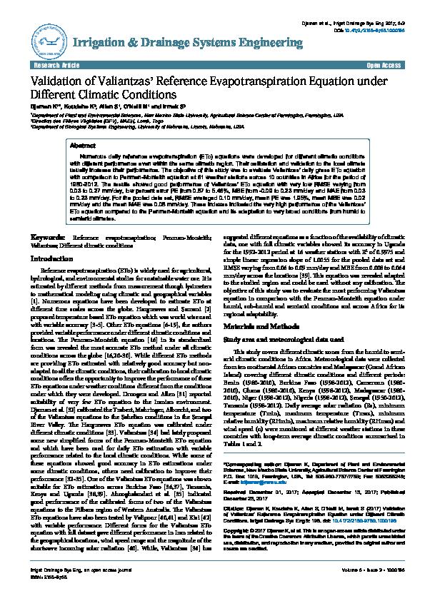 PDF) Irrigation & Drainage Systems Engineering Validation of