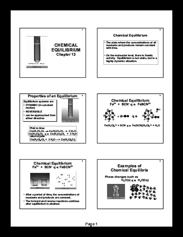 PDF) CHEMICAL EQUILIBRIUM Chapter 13 2 Chemical Equilibrium