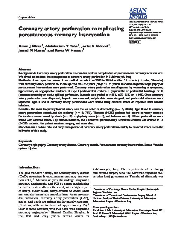 PDF) Coronary artery perforation complicating percutaneous