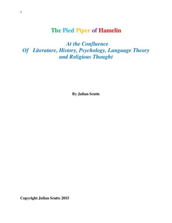 Pdf The Pied Piper Of Hamelin At The Confluence Of