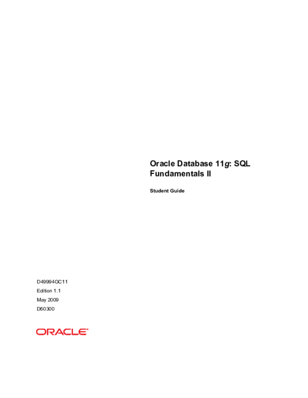 PDF) Oracle Database 11g: SQL Fundamentals II Student Guide
