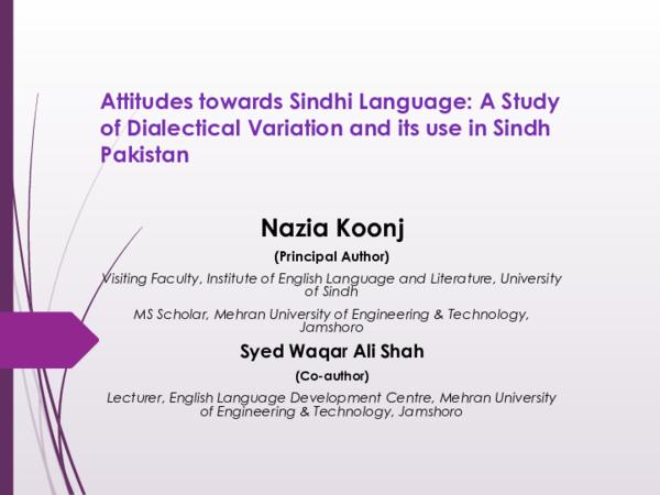 PDF) Attitudes towards Sindhi Language: A Study of