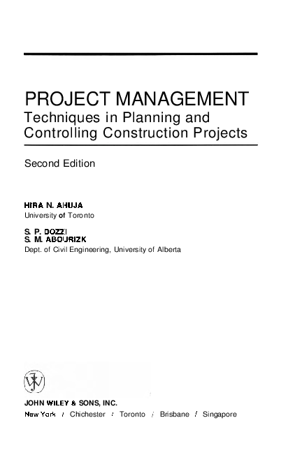 PDF) PROJECT MANAGEMENT Techniques in Planning and