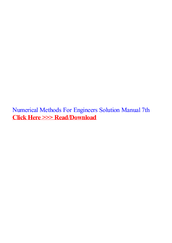 Numerical Methods For Engineers Solution Manual 7th 재원 정
