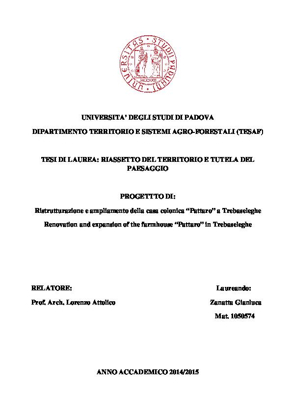 Pdf Ristrutturazione E Ampliamento Della Casa Colonica Pattaro A