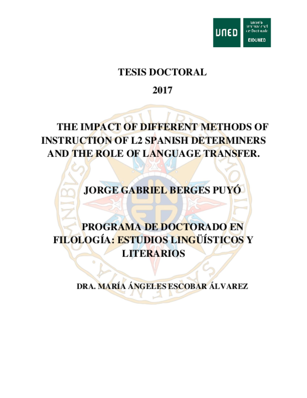 DOC) The impact of different methods of instruction of L2