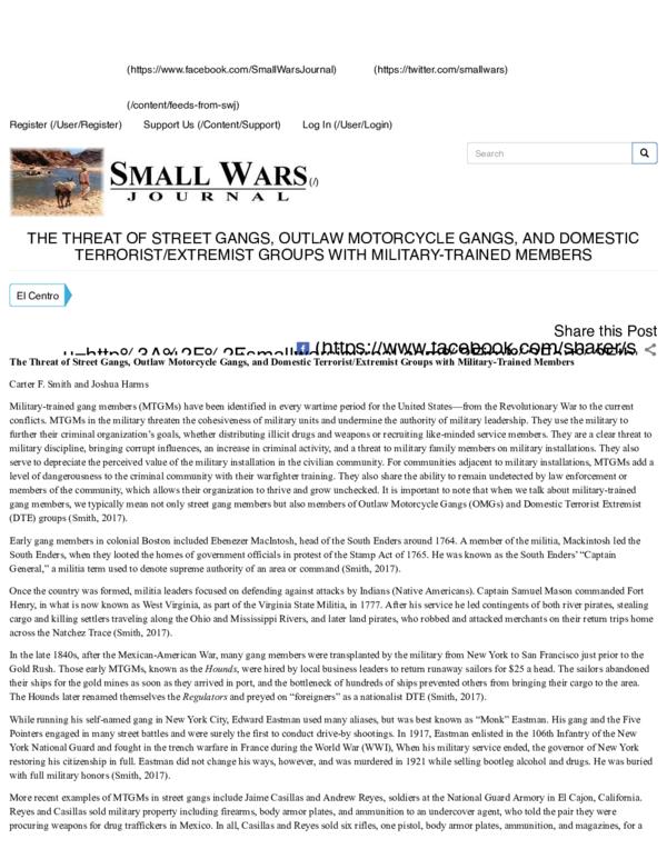 PDF) The Threat of Street Gangs, Outlaw Motorcycle Gangs