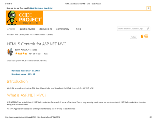 PDF) HTML 5 Controls for ASP NET MVC - CodeProject   Maurice