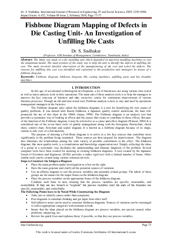 PDF) Fishbone Diagram Mapping of Defects in Die Casting Unit