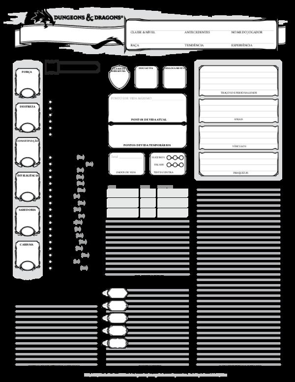 PDF) D&D 5E Ficha de Personagem Biblioteca Élfica (1) | Filipe