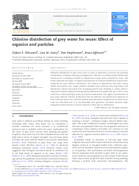 PDF) Chlorine disinfection of grey water for reuse: Effect of