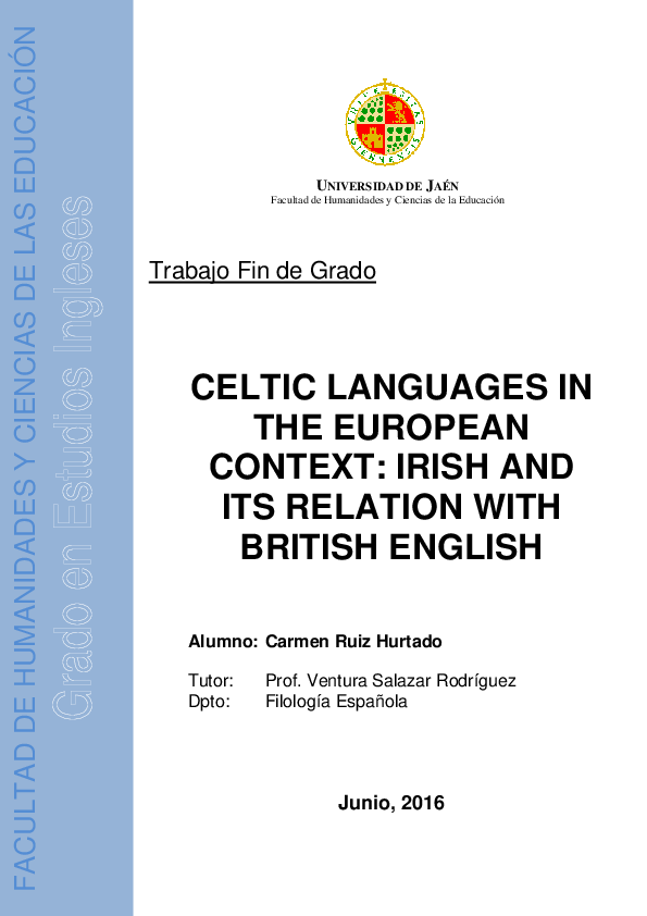 PDF) CELTIC LANGUAGES IN THE EUROPEAN CONTEXT: IRISH AND ITS