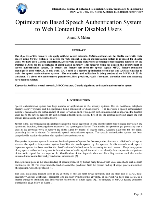 PDF) Optimization Based Speech Authentication System to Web