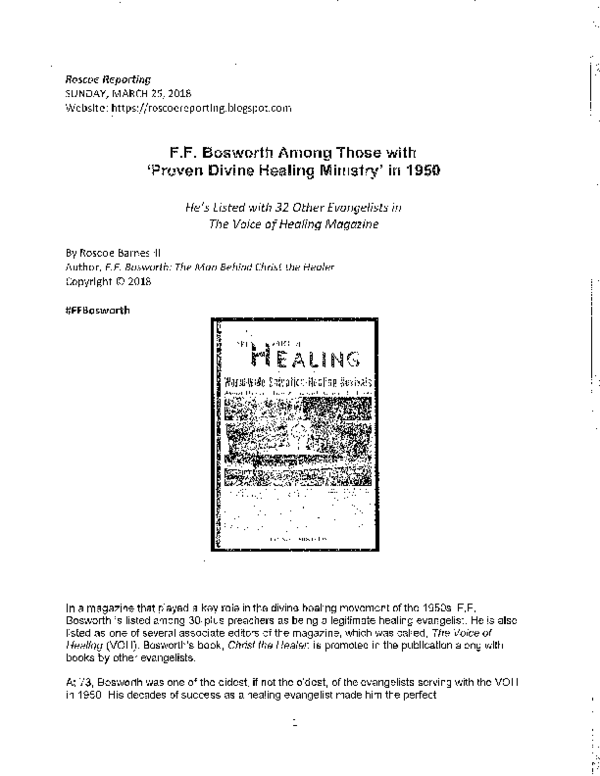 F F  Bosworth Among Those with 'Proven Divine Healing
