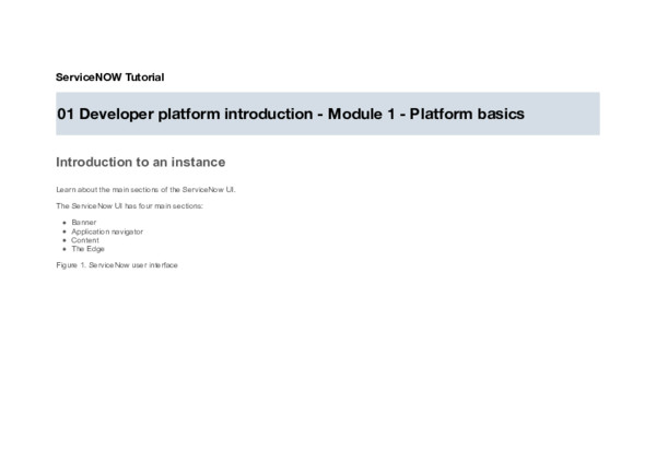 PDF) ServiceNOW Tutorial 01 Developer platform introduction