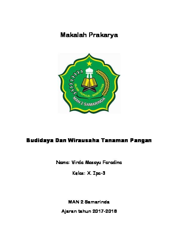 Doc Makalah Prakarya Budidaya Dan Wirausaha Tanaman Pangan Virda Masayu Faradina Academia Edu