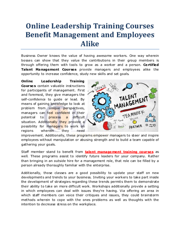 PDF) Online Leadership Training Courses Benefit Management and