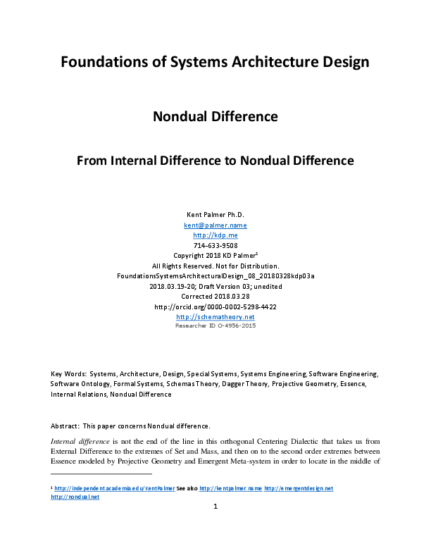 Pdf Foundations Of Systems Architecture Design 08 Nondual Difference Kent Palmer Academia Edu
