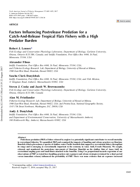 PDF) Lennox et al. 2017 NAJFM.pdf | Robert Lennox - Academia.edu